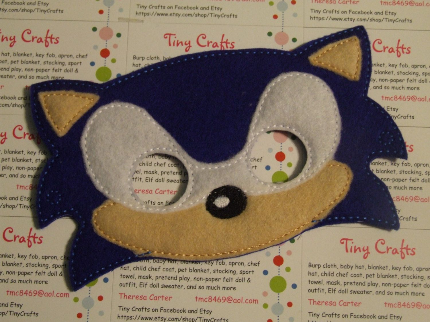 Sonic Hedgehog Inspired Felt Mask For Dress Up Or Halloween Pretend Play Imagination Education Party Favor Felt Mask Sonic The Hedgehog Costume Sonic Birthday