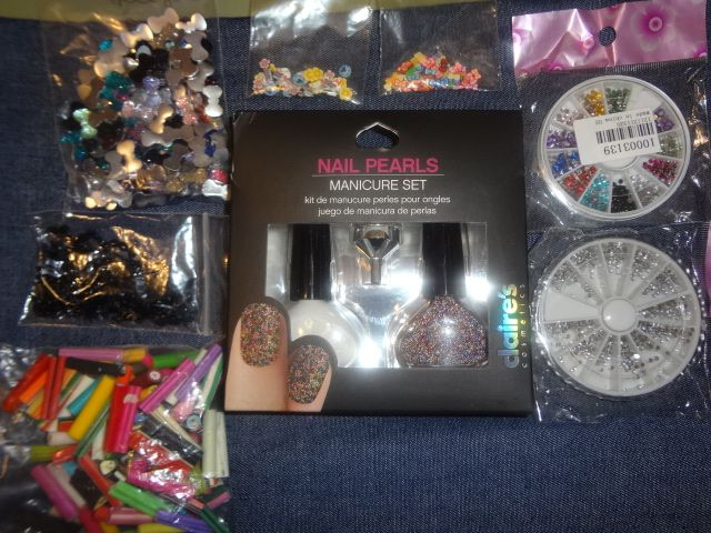 Nail design supplies... multiples available we can work something out :) nail pearls, fimo canes, rhinestones, nail bows, nail mustaches