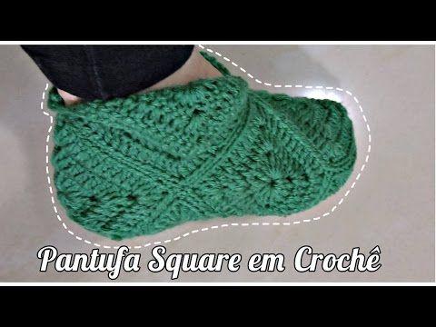 PANTUFA SQUARE EM CROCHÊ/DIANE GONÇALVES - YouTube | buty,rękawiczki ...