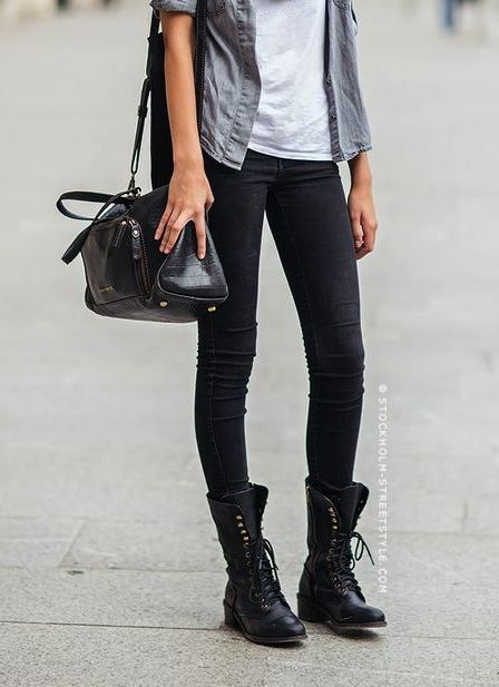 Pinterest • @nikolinamacic   Fashion, Combat boot outfits