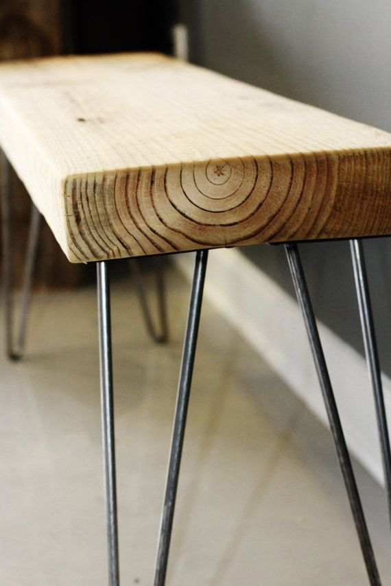 Thick Reclaimed Wood Bench with Hairpin Legs, Handmade Furniture ...