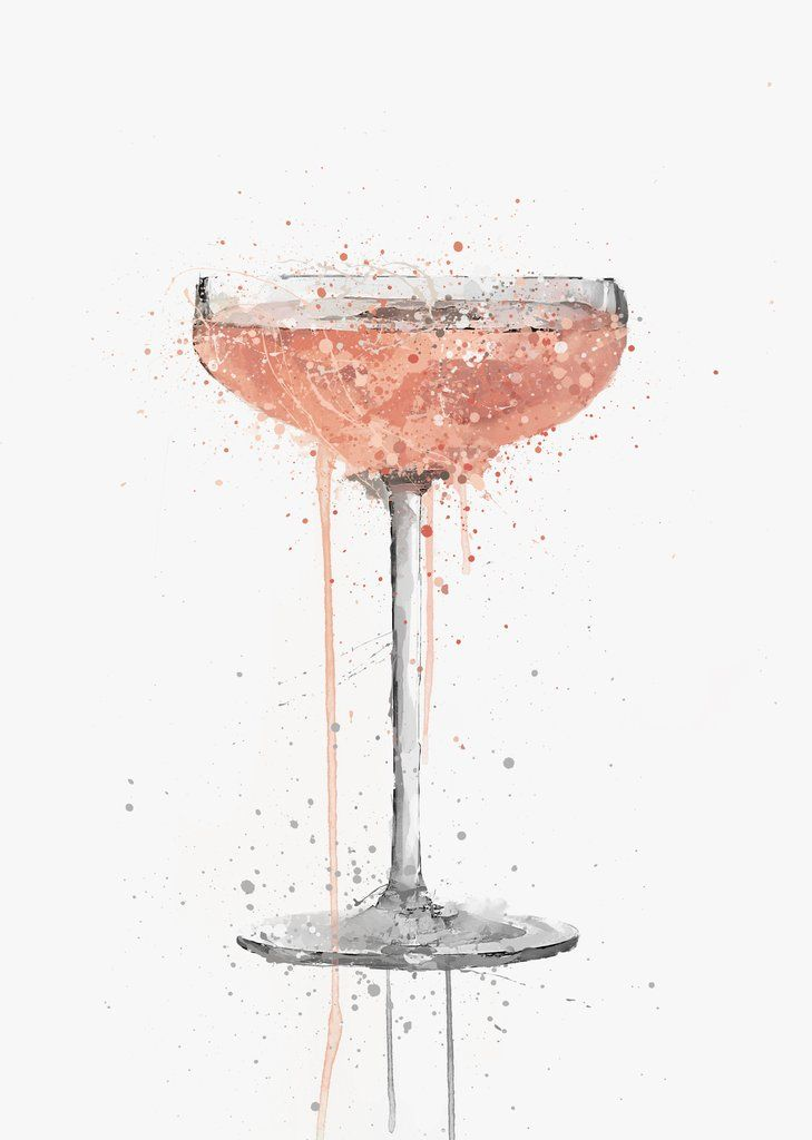 Champagne Coupe Rose Cocktail Wall Art Print Pink Wall Art Pink Wall Art Prints Rose Wall Art