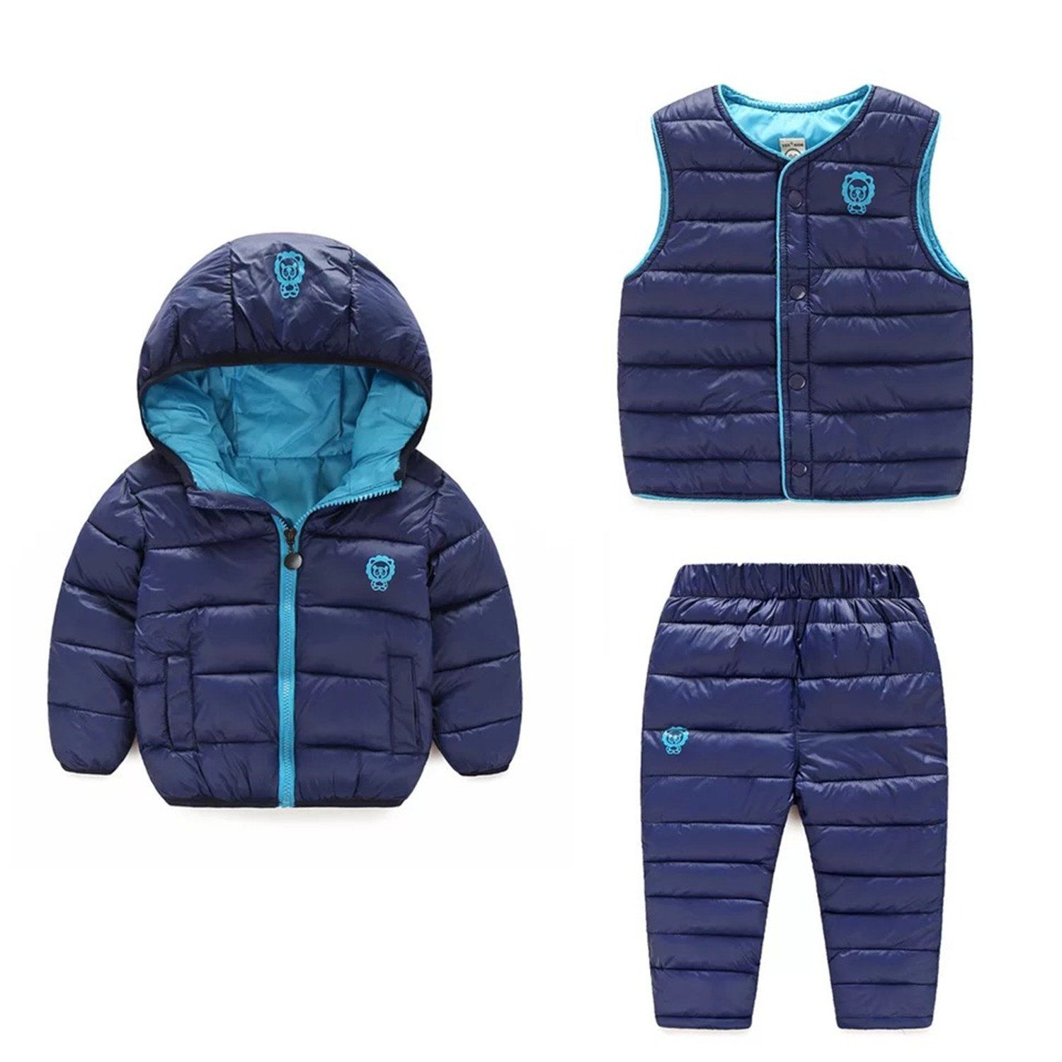 65c0ee526c6a6 Baby Boys Girls Winter Warm Pants   Jackets  Vests Clothes Sets Children  Down Cotton padded Snowsuits