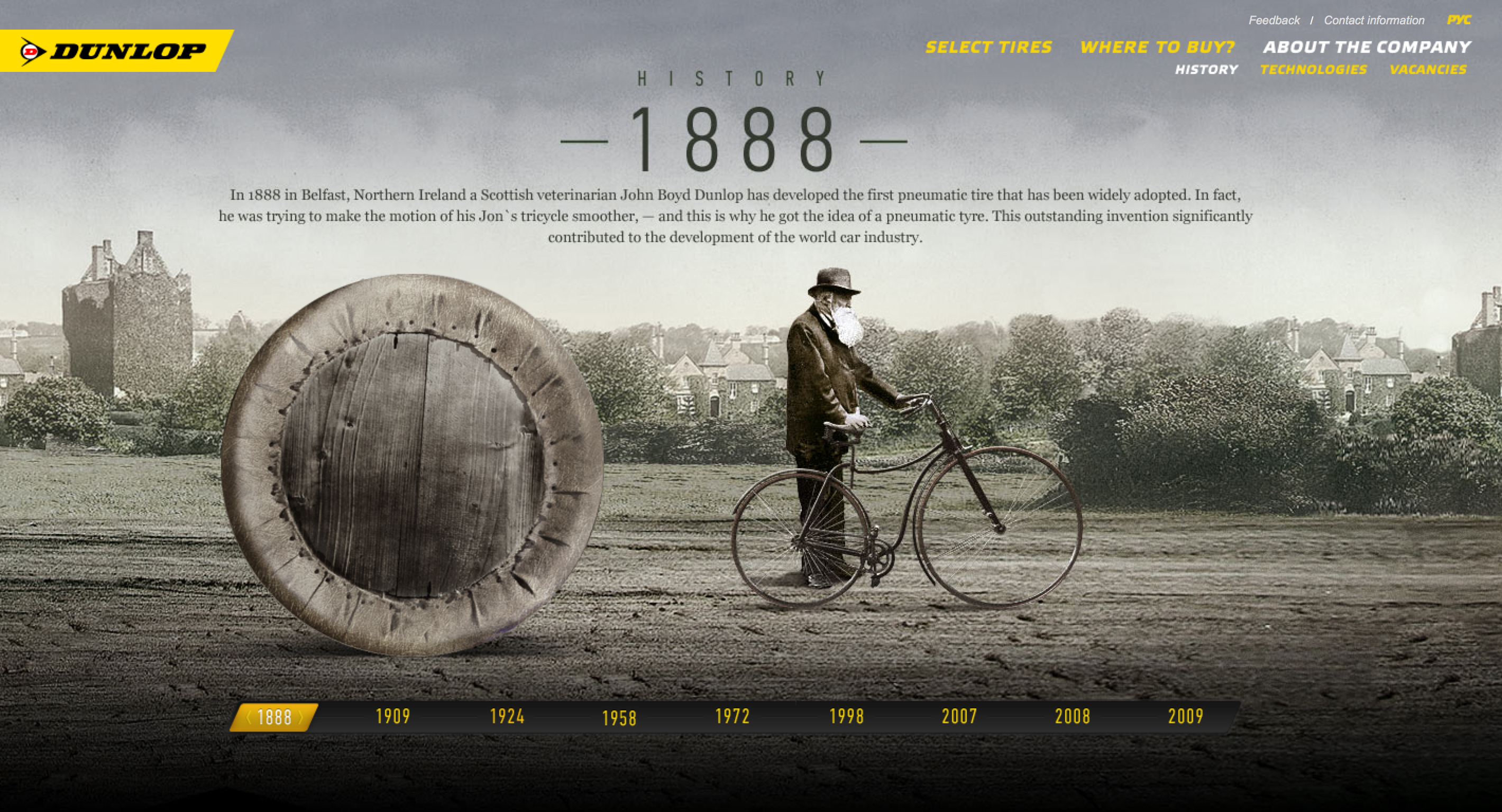 Dunlop History Provides The User With An Immerse Look At Company Through Movement Image Type Tire Ac Web Design Examples Web Design Web Graphic Design [ 1536 x 2840 Pixel ]