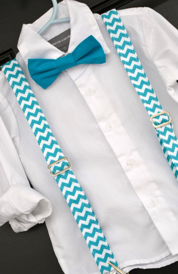 Easter Spring Bright Turquoise Blue Chevron Bowtie