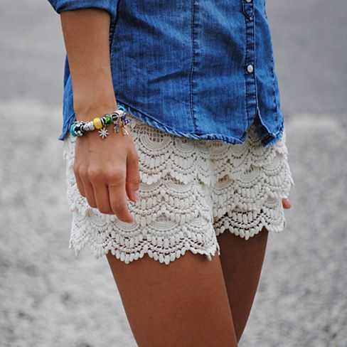 Women's Lace Crochet Shorts Available In 3 Colors - Teeming with vintage style, these lace shorts add a dash of retro sweetness to any look. Full of girlish whimsy, their delicate trim and pastel backdrop are simply dreamy.
