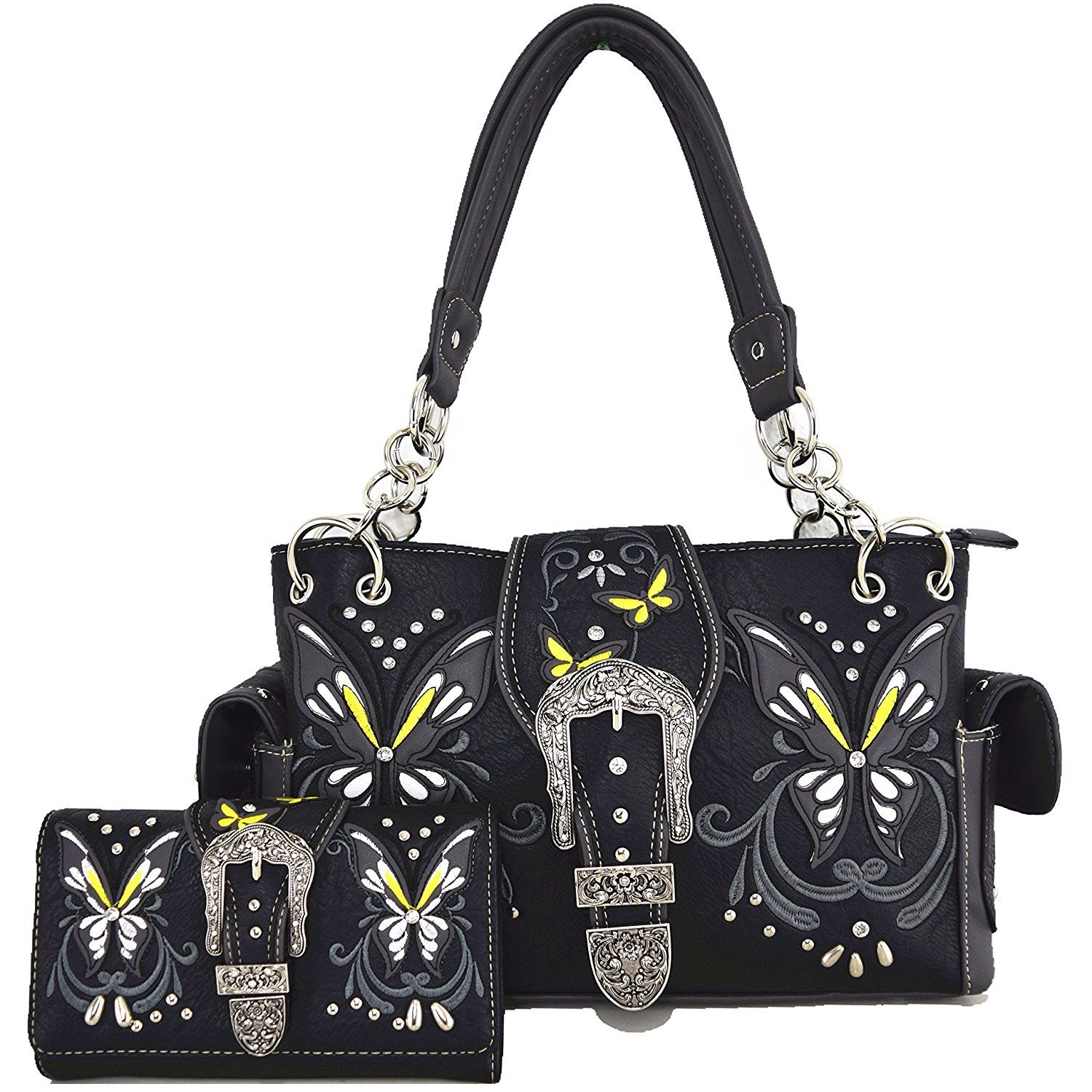 Western Concealed Carry Spring Butterfly Country Purse Handbag Messenger Shoulder Bag Wallet Set Black -- To view further for this item, visit the image link. (This is an Amazon Affiliate link and I receive a commission for the sales)
