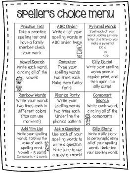 Heres A Free Spellers Choice Menu That Can Be Used With Any Spelling List The Kids Love It Because Theres A Variety Of Activities To Choose From
