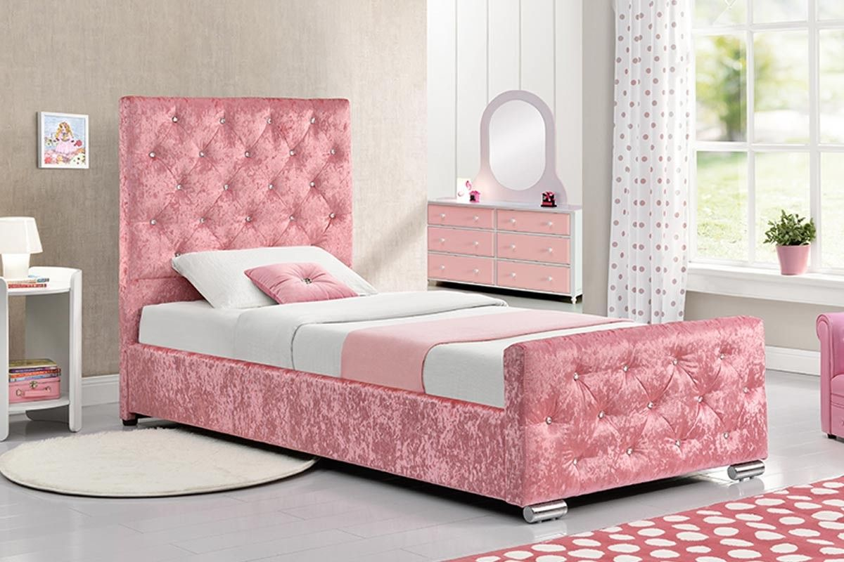 Pink Leather Bed 3FT Single *New Exclusive Design Perfect For Any Girls Bedroom*