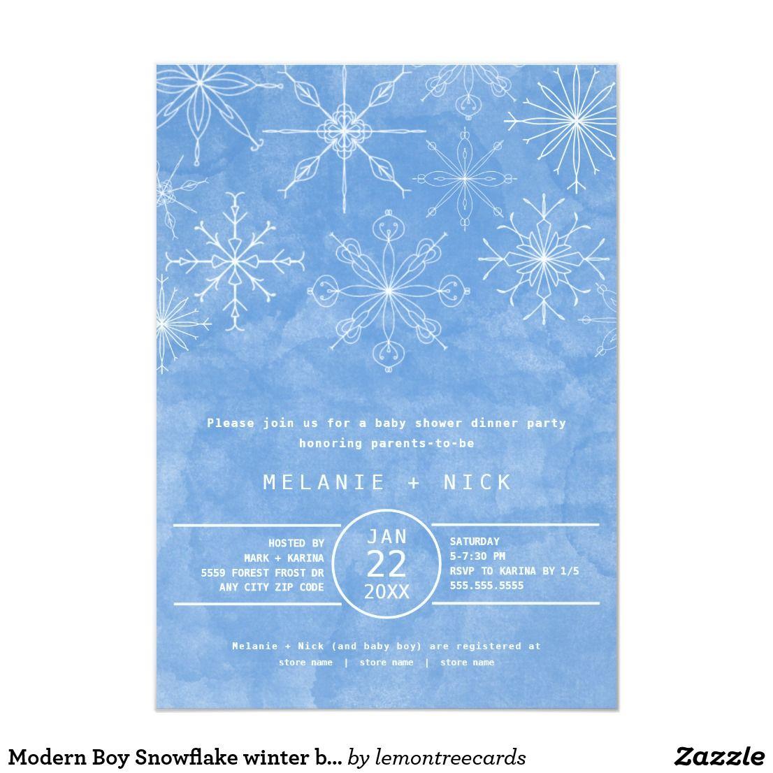 Modern Boy Snowflake winter baby shower Invitation