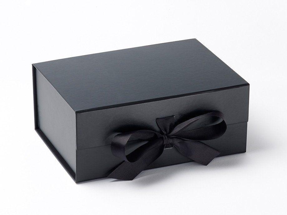 Foldabox A5 Deep Black Gift Box With Fixed Ribbon Empaques