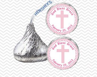 Cross Pink Baptism Christening First Holy Communion - Personalized Hershey Kiss Stickers, Hershey Kiss Labels