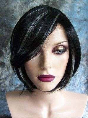 Black With White Highlights Short Wig Wigs Gray Hair Highlights Dark Hair With Highlights Short Dark Hair
