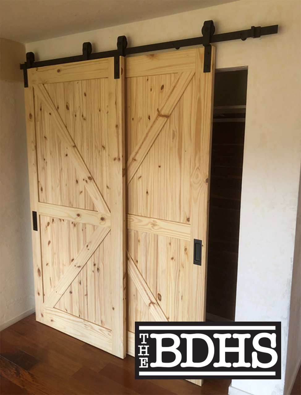 Single Track Bypass C Double Door Sliding Barn Door Hardware Kit With 78 Track Fast Bypass Barn Door Hardware Barn Door Designs Bypass Barn Door