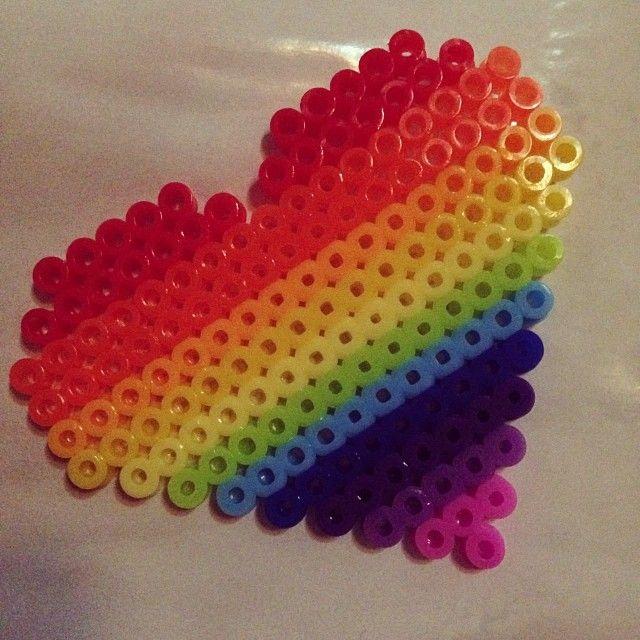 Rainbow heart perler beads by rachel_liu | Perler and Pony