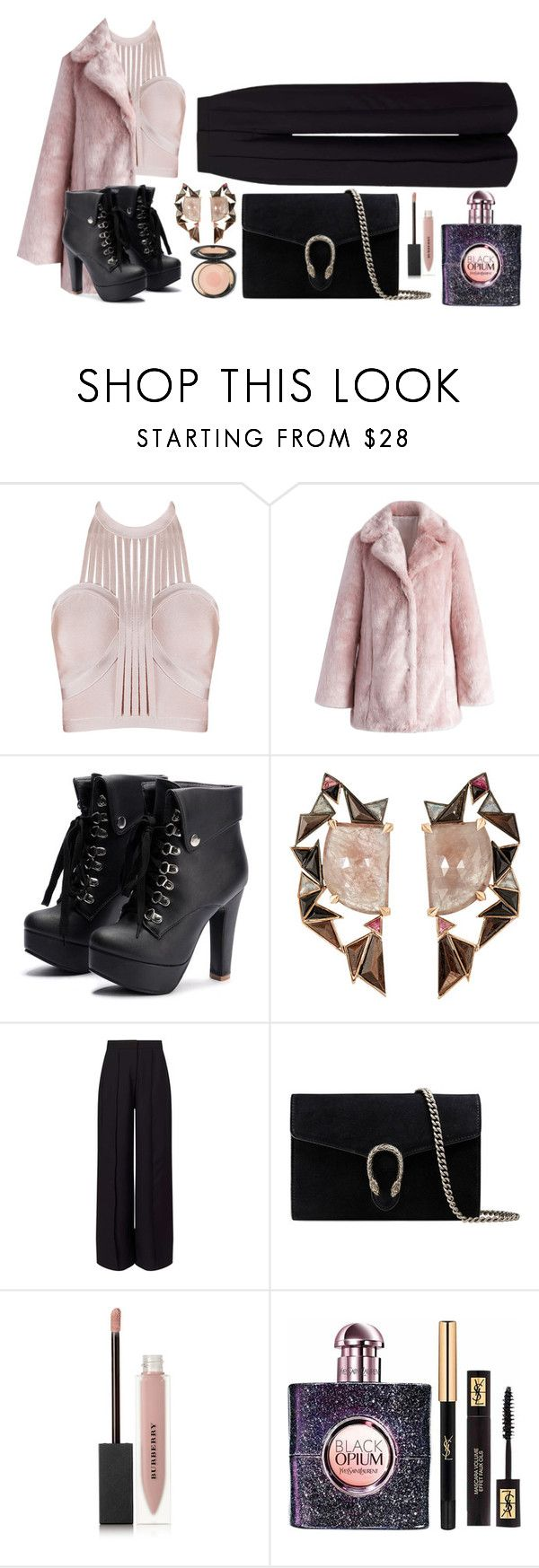 """""""Rock Pink!"""" by fashionkat20 ❤ liked on Polyvore featuring Chicwish, Nak Armstrong, Miss Selfridge, Gucci, Burberry and Yves Saint Laurent"""
