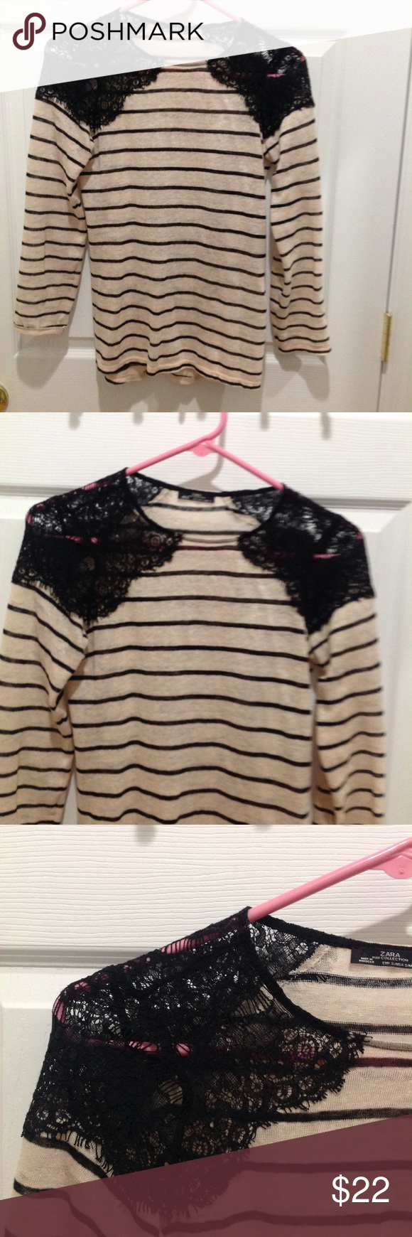 Zara lace detail Striped T-shirt, Size Small. Zara lace detail Striped T-shirt, Size Small. Zara Tops Tees - Long Sleeve