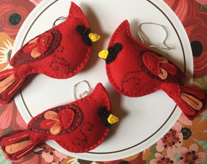 Cardinal Ornament, Wool Felt Female Cardinal Ornament/ Northern Cardinal/ Brown and Red Bird/ Wool Felt Bird Ornament #feltbirds