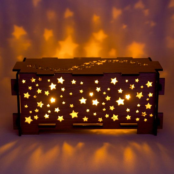 Star Wood Night Light Box Lamp Trinket Storage By Dirtbyearth