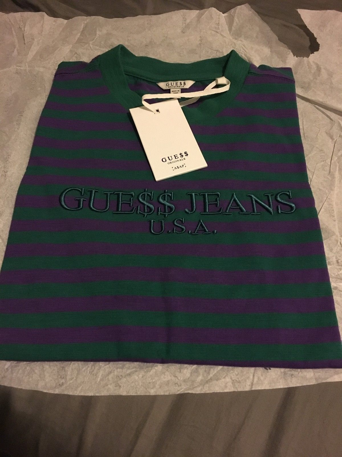 a34bcf62495b Guess x Asap Rocky Striped Shirt Green Purple Medium GUE$$ Jeans USA #rare