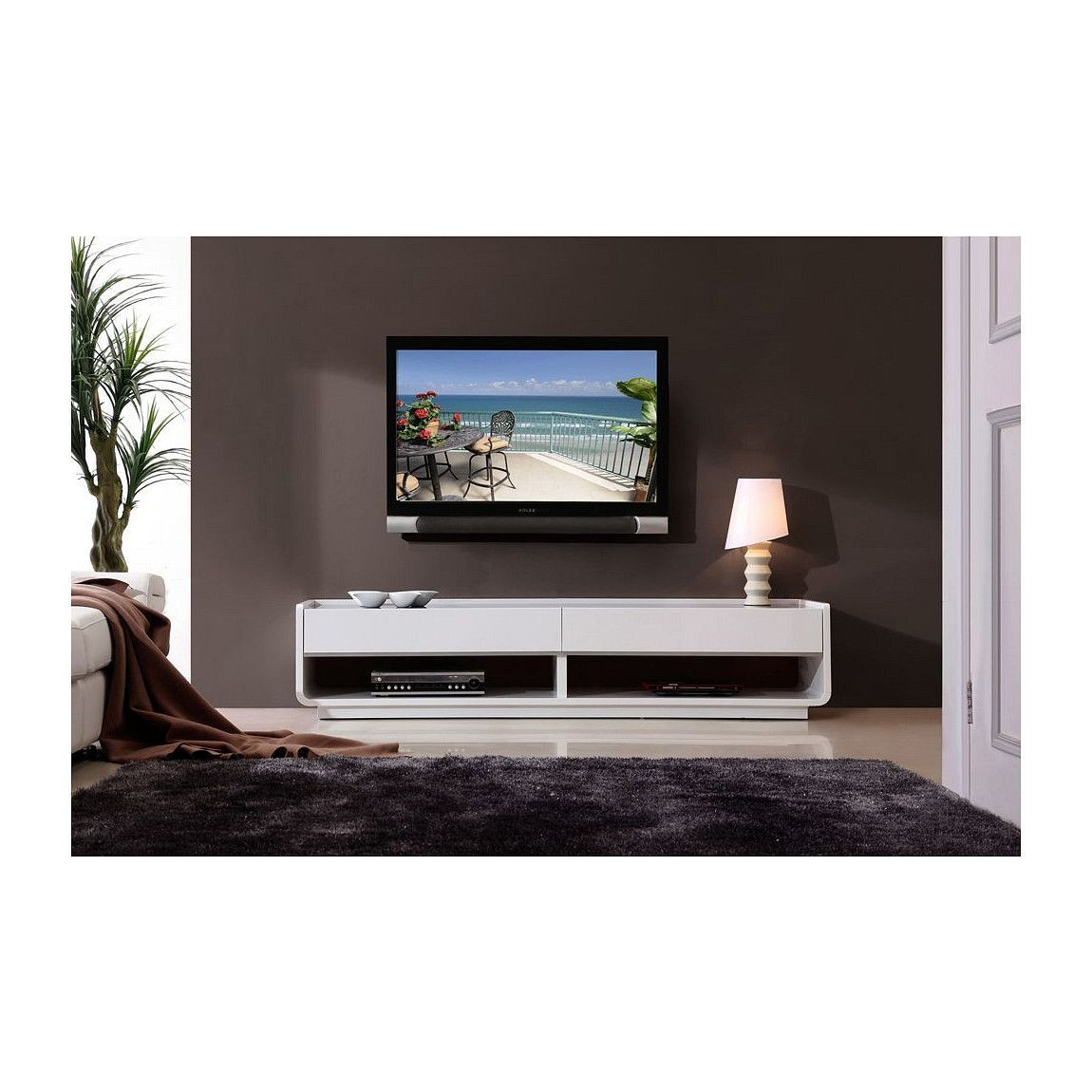 Modrest Jefferson Modern Walnut And White High Gloss Tv Unit Devin  -> Sala De Tv Jefferson