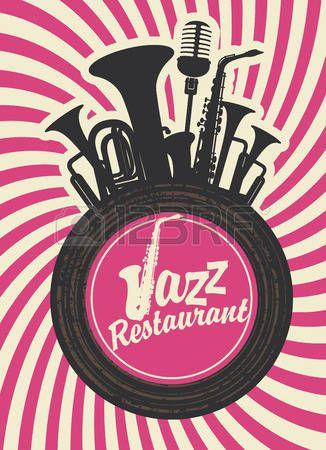 ジャズ: ジャズ レストラン風器械とビニール レコードのバナー