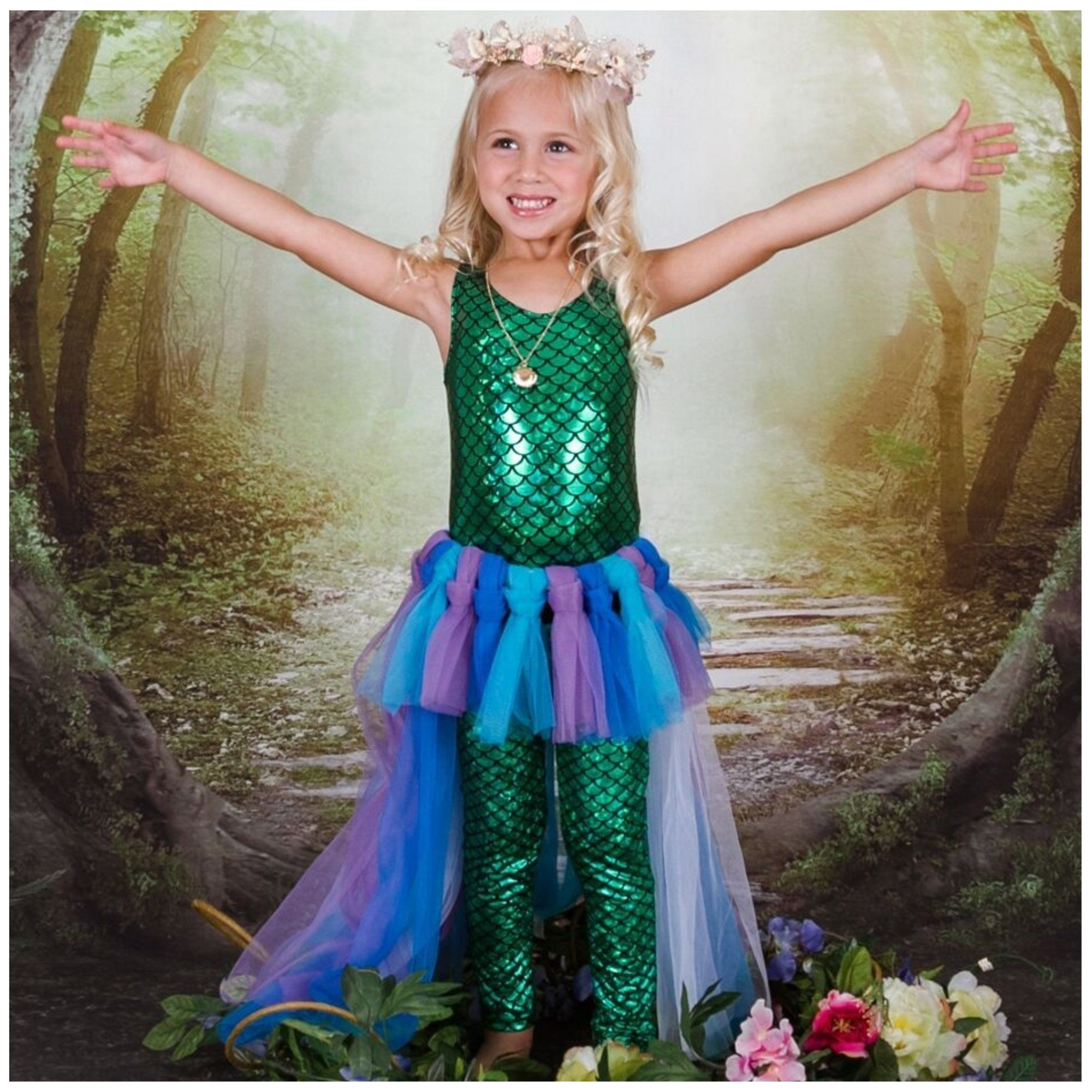 f37c2713a2 Girls Mermaid Tulle Skirt & Fish Scale Leotard Halloween Costume in ...
