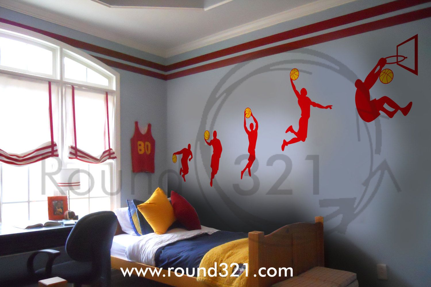 Captivating Small Basketball Dunk Sequence Wall Decal Round321com Boy Boys Nursery  Bedroom Playroom Personalized Custom Forthehome Walldecal Vinyl Amazing Pictures