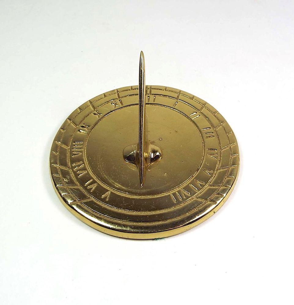 Vintage Brass Sundial 3 25 Paperweight Metal Compass Medallion Nautical Emblem Vintage Nautical Decor Vintage Brass Sundial