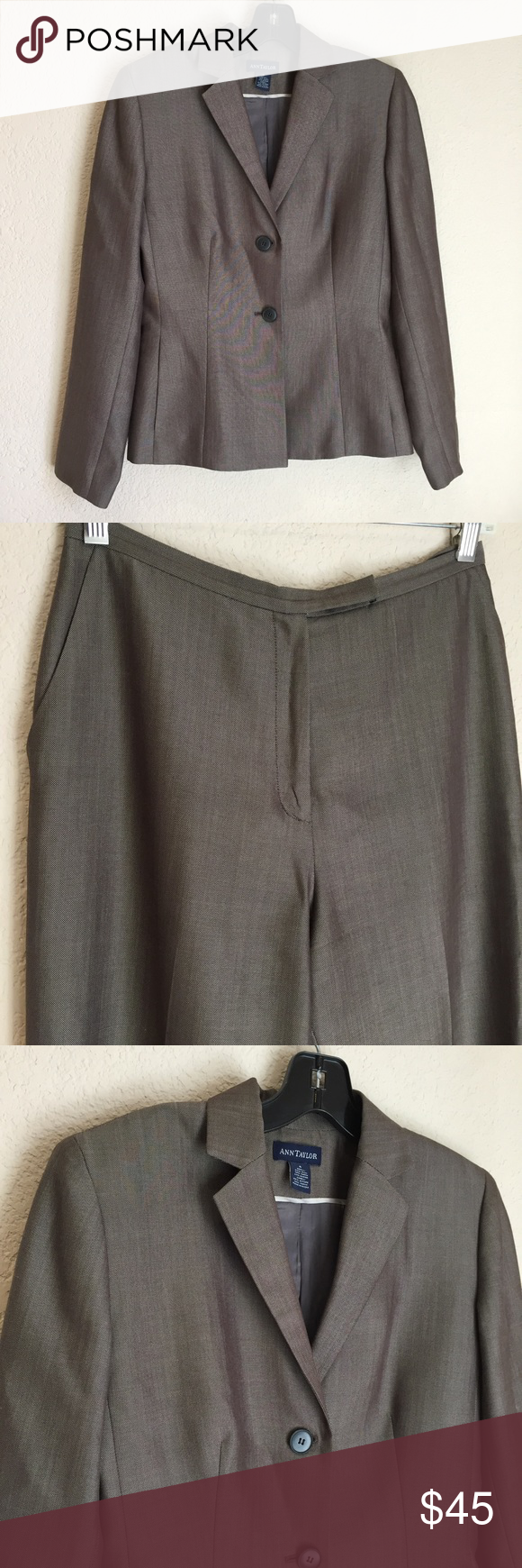 Ann Taylor women's wool blend two piece gray suit Ann Taylor women's wool blend two piece gray suit good preloved condition this is being sold as a set Ann Taylor Other