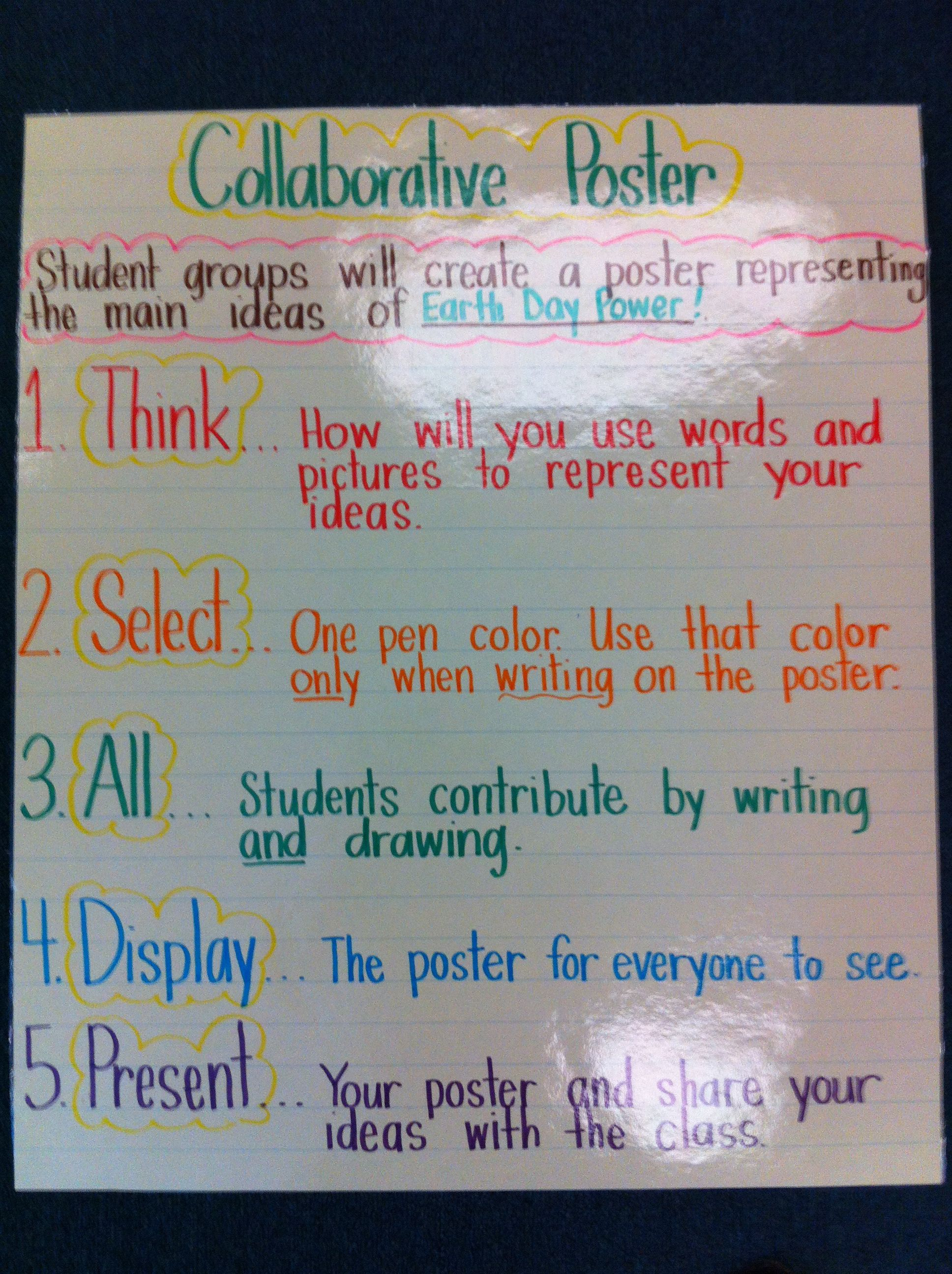 Collaborative Classroom Writing ~ Collaborative poster productive group work pinterest