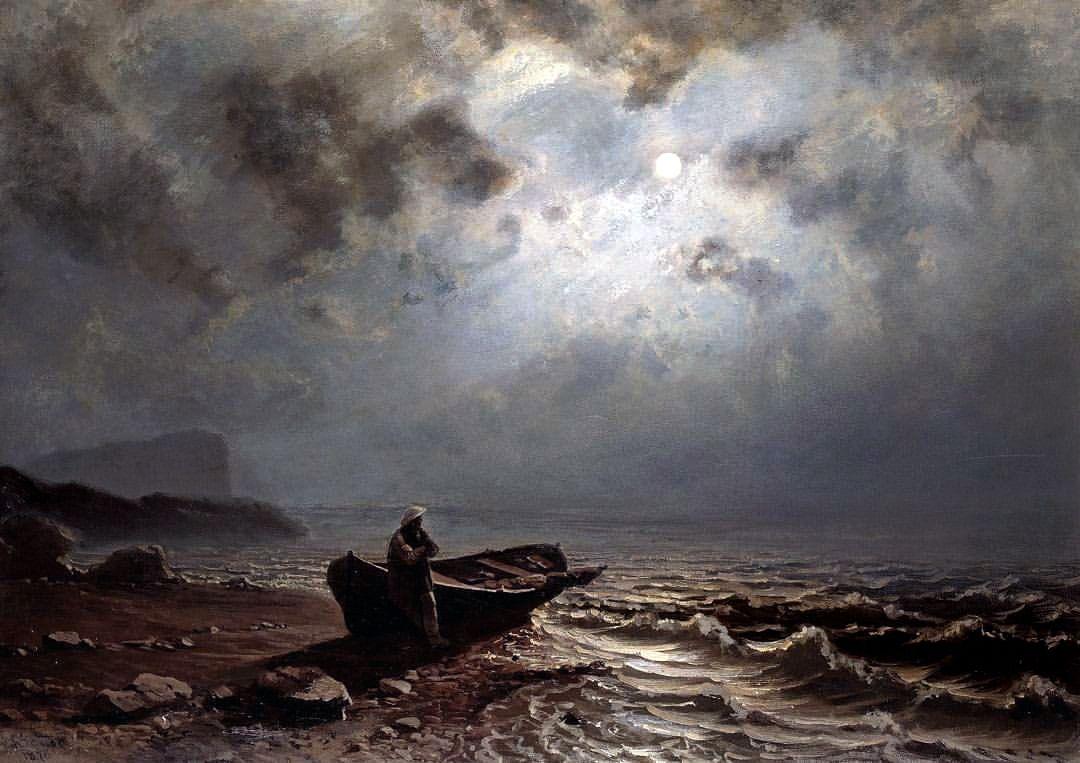 Moonlight on the Norwegian Coast (1876) - Knud Andreassen Baade - #art #baade #knud #Landscape #Moonlight #night #seascape