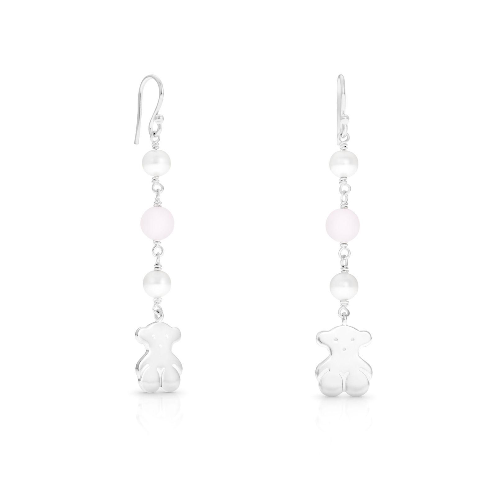 """Sterling silver TOUS Jouet earrings with 6mm. - 1/4"""" cultured pearls and 7mm. - 1/4"""" pink quartz. Bear: 1,5cm. - 7/8"""". Hook lock.  TOUS Washington DC"""
