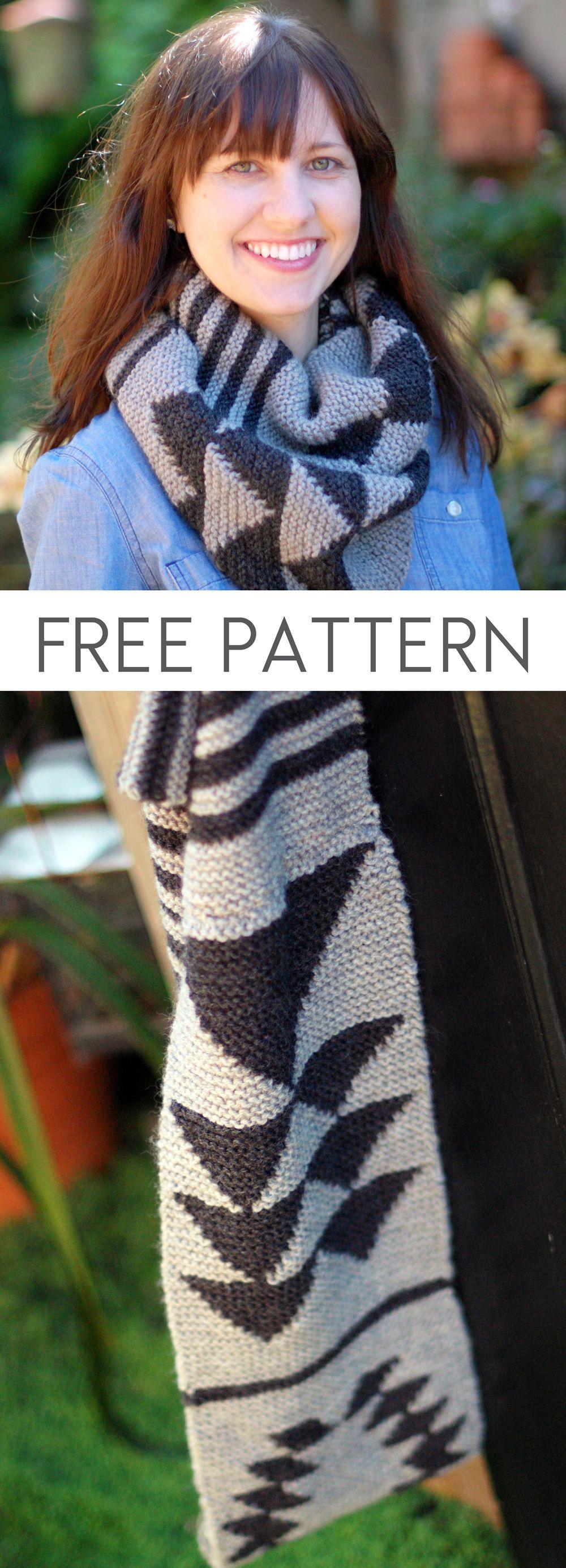 Free Knitting Pattern: Aztec Infinity Scarf << inspiration scarf Cowichan garterstitch scarf