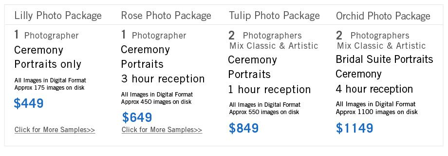 wedding photographers price list - Google Search   Third Charm