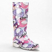 pixy rainboot  $108.00sale $79.00  style:q497  A weatherproof, water-repellent wellie. The cheery Poppy prints and distinctive clear sole are sunshine on a cloudy day.