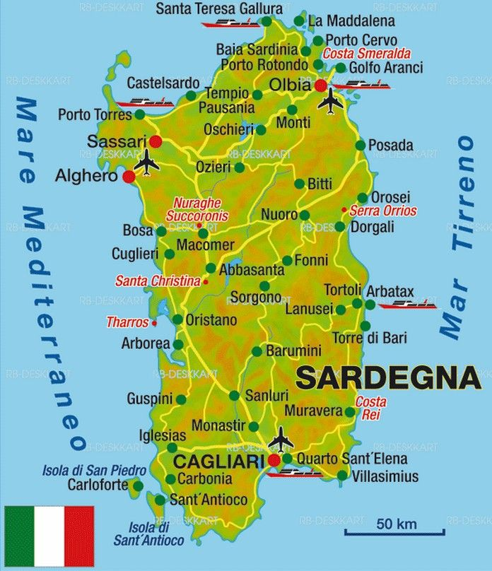 A detailed Map of Sardinia in Italy showing main cities villages