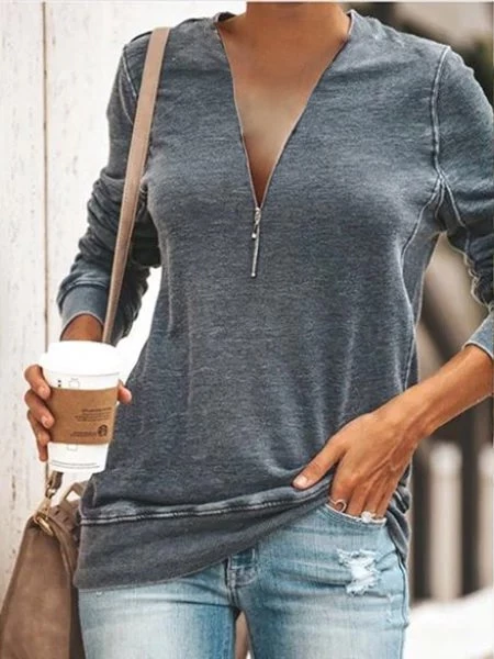 Casual Daily Zipper T-shirt Plus Size #zippertop