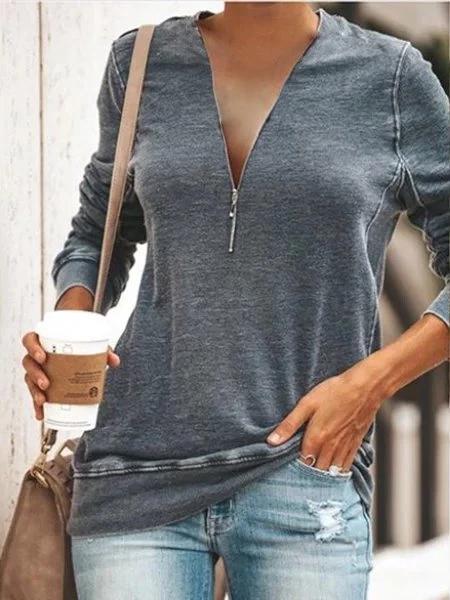 Casual Daily Zipper T-shirt Plus Size #zippertop