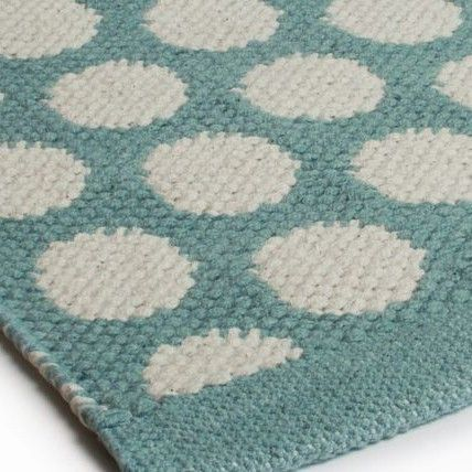Teppich grün blau  Aspegren Teppich Dots seagreen - Läufer aus Baumwolle grün-blau in ...