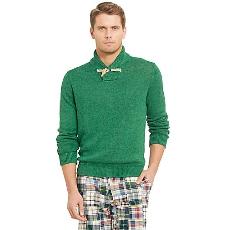 Tommy Hilfiger men's sweater. Linen construction gives a luxe feel to our shawl collar sweater. Amazingly soft—good luck keeping her hands off this one. <br/>• Classic fit.<br/>• 65% linen, 35% cotton.<br/>• Ribbed trim, microflag at cuff. <br/>• Machine washable.