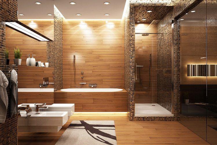 Salle de bain en bois en 30 idées inspirantes ! Spa baths and Bath - faux plafond salle de bain