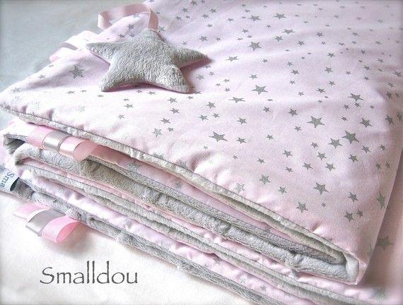 couverture velours bébé Couverture bébé rose étoiles argents et velours smalldou | Bébé et  couverture velours bébé