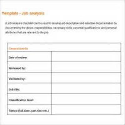 job analysis templates business analysis templates Pinterest