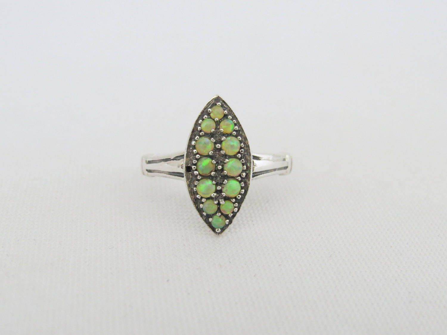 Vintage Sterling Silver Green Opal Marquise Ring Size 8 by JewelryEmpire14 on Etsy