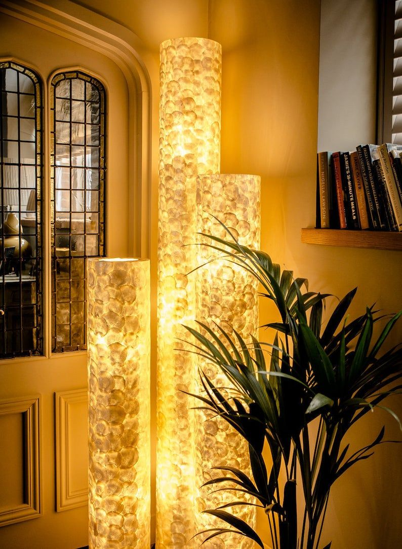 Handcrafted Mother Of Pearl Floor Lamp Amroth Unique Lighting Etsy Column Lights Extra Tall Floor Lamp Unusual Lighting