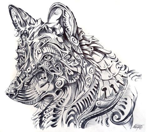 Pencil Drawing Abstract Wolf Abstract Wolf Animal Doodles