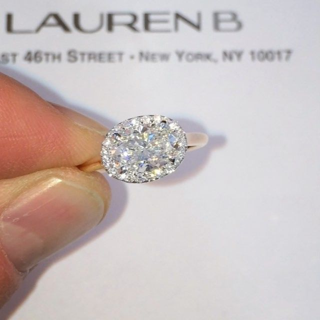East Meets West In This Two Tone Ovaldiamond Halo Engagement Ring