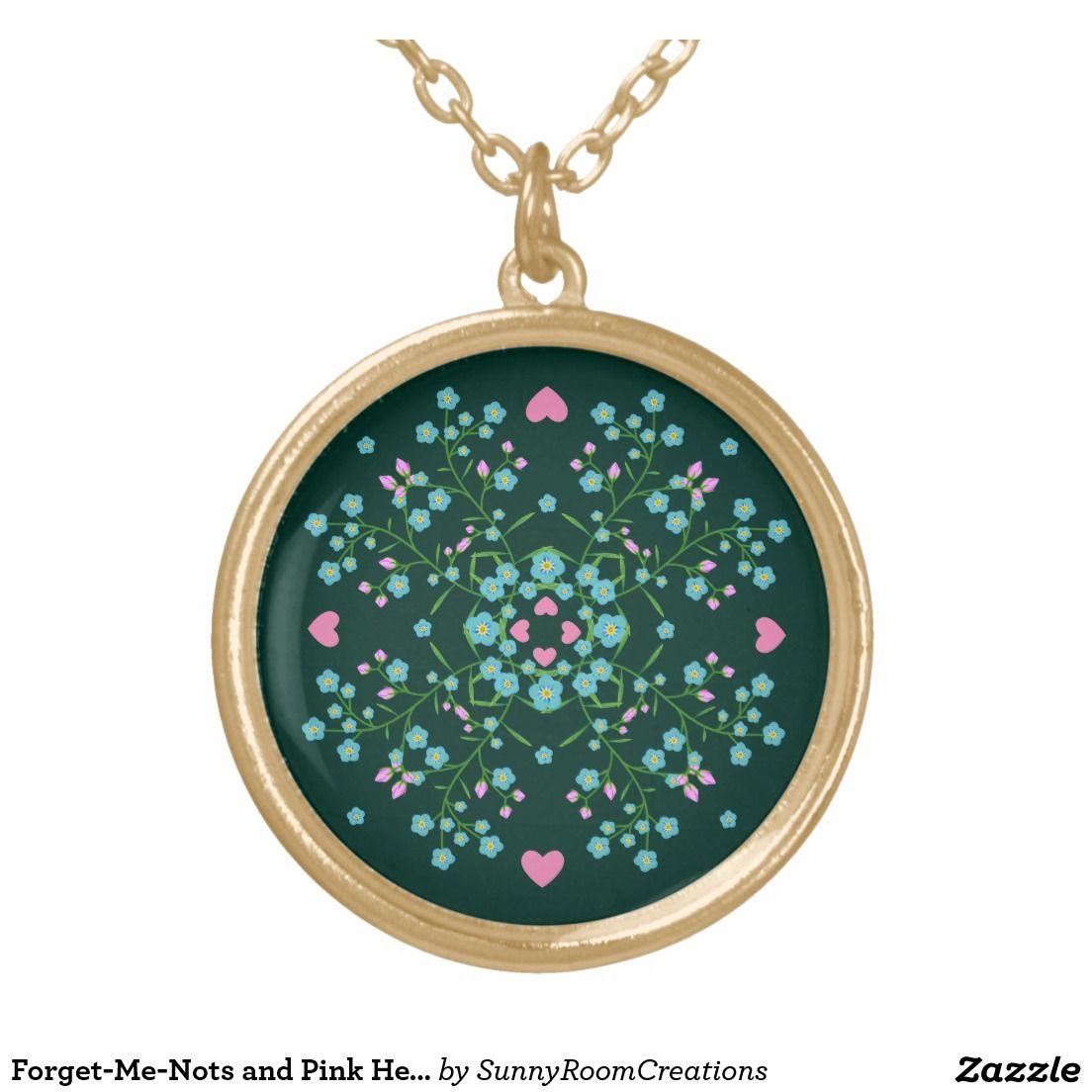 Forget-Me-Nots and Pink Hearts Mandala