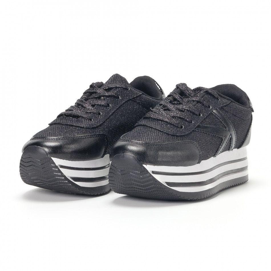 e6d1cc6ff Дамски маратонки на платформи с черен брокат it160318-54